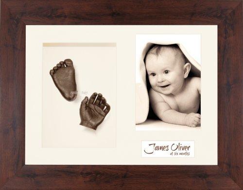 Anika-Baby Kit de moulage pour bébé Cadre 3 ouvertures Bois effet acajou Passe-partout crème/fond crème/peinture bronze 29,1 x 21,6 cm