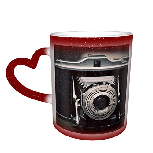 Cámara fotográfica Cámara Agfa Isolette Fotografía Taza que cambia de color antigua en el cielo Taza de cerámica Taza de café Regalo de