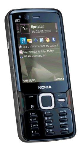 Nokia N82 (UMTS, WLAN, A-GPS, Nokia Maps, Kamera mit 5 MP) Handy ohne Vertrag, ohne Branding, kein Simlock, schwarz