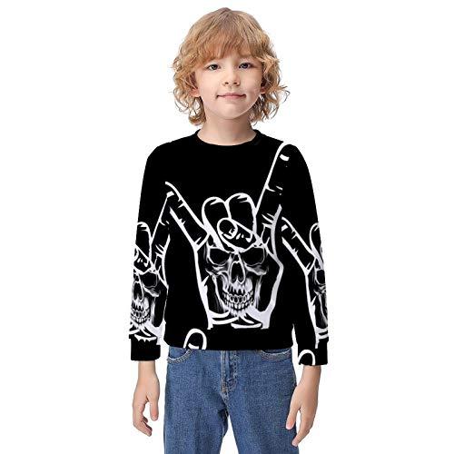 Slim Sweatshirts for Boys Girls Teens Junior, Gesture Skull Hoodie with Pocket Novelty Tracksuits for Hiking Gym Yoga
