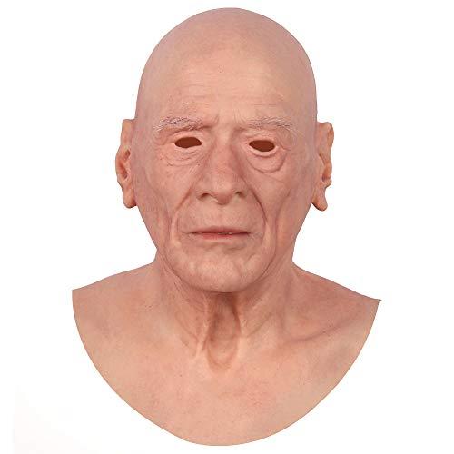 CYOMI Silikon-Maske realistisch weicher und natürlicher als früher Crossdresser Karneval Cosplay Oktoberfest Transvestiten Party männlich gekleidet - Dieter Herrenmaske - Alter Mann - 4. Generation