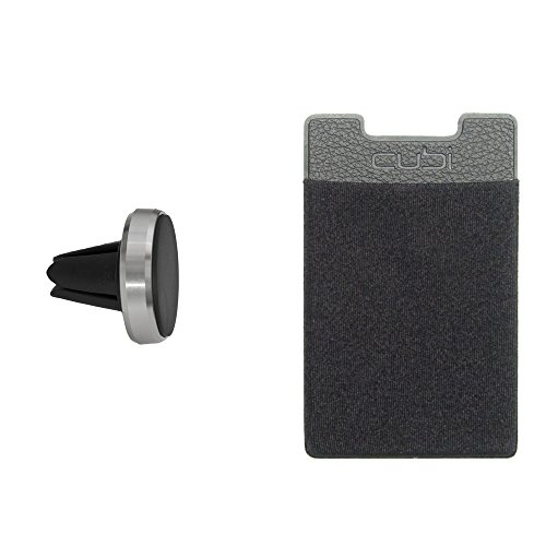 CardNinja RFID Blocking Ultra-slim Self Adhesive Credit Card Wallet for Smartphones with Universal Magnetic Car Vent Mount Combo Pack, Black