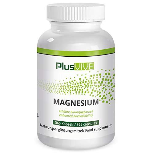 PlusVive - Magnesium Kapseln - hochdosiert: 700 mg aus Meerwasser gewonnenes natürliches Magnesium pro Kapsel - 365 vegane Kapseln - Hergestellt in Deutschland