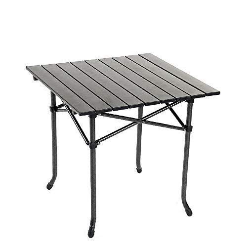 LCSD mesa de camping al aire libre ligero aleación de aluminio simple plegable mesa portátil negro camping picnic pesca barbacoa playa vacaciones auto-conducción