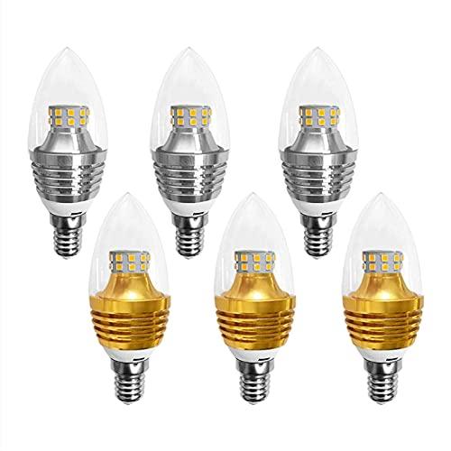 YQGOO Paquete de 6 Bombillas LED para candelabros, 5 W de Alto Brillo, Bombillas LED Tipo mazorca de maíz, Base E14, Blanco cálido/Blanco frío, Bombilla Torpedo no Regulable AC85-265V