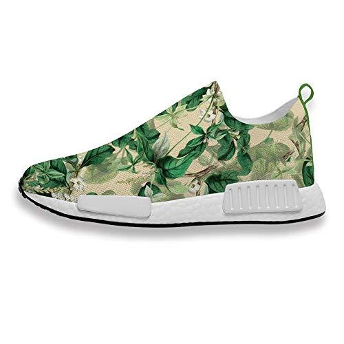 Zapatillas deportivas para hombre y mujer, con estampado de hojas, cómodas y transpirables, para correr, para fitness, caminar, trotar, color, talla 39 1/3 EU