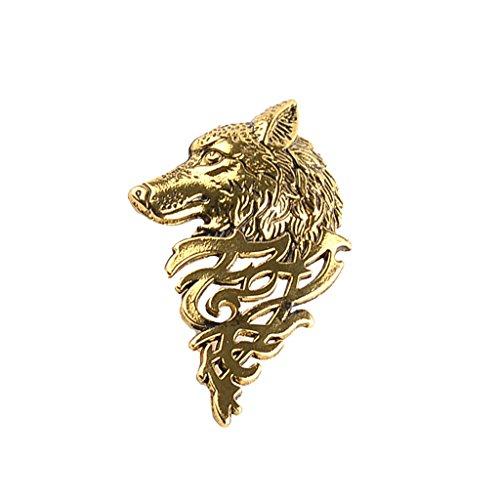 Generic Herren Schmuck, Brosche Nadel, Wolf Muster, Anzug Zubehör, Hochzeitsschmuck - Antik Gold