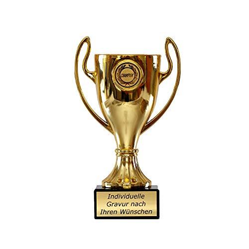Pokal in Gold mit Wunschtext - Trophäe für Kinder - Henkelpokal als Geschenk für Frauen und Männer mit Emblem Champion 16,5 cm hoch