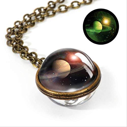 XINGXX accessori Nebula Galaxy Doppia Facciaa Ciondolo Collana Gioielleria Orologio Immagine A Mano Collana LGS0030-Luminous