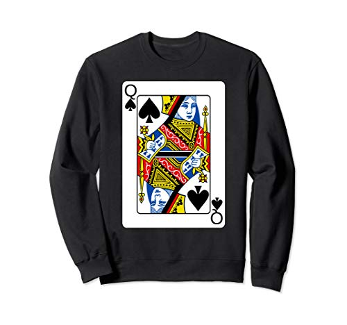Queen Of Spades Playing Card Group Costume Poker Player Sweatshirt