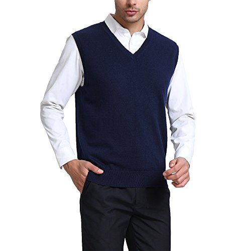 Kallspin Men's Cashmere Wool Blend Relax Fit V Neck Vest Sweater Knit Sleeveless Pullover, Navy Blue, XL