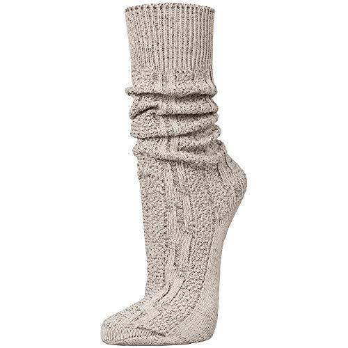 PAULGOS Trachtensocken Trachtenstrümpfe Socken Kniestrümpfe mit Zopfmuster in 3 Farben Gr. 39-47, Schuhgröße:43, Farbe:Beige