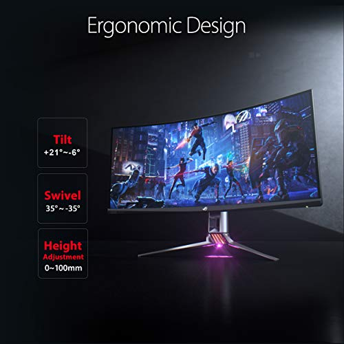 """Asus Rog Swift PG35VQ 35"""" Curved HDR Gaming Monitor 200Hz (3440 X 1440) 2ms G-Sync Ultimate Eye Care DisplayPort HDMI USB Aura Sync HDR10 Display HDR 1000,Black"""