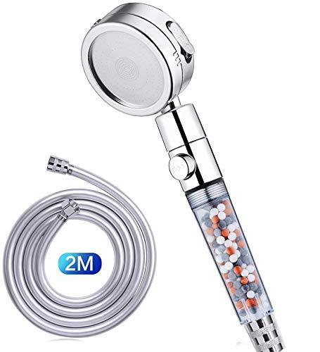 GAVAER Duschkopf, Handbrause 4 Strahlarten, Universal-Duschkopf mit 2m PVC Schlauch, Mit Stopp Taste Wassersparend, Mit Kalkfilter und Lonenfilter.