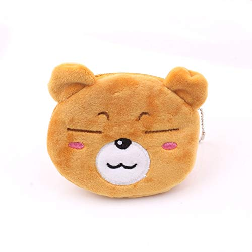 Soft plush panda dog rabbit monkey cartoon lady coin purse mini cute zipper girl coin purse wallet key wallet-Bear B