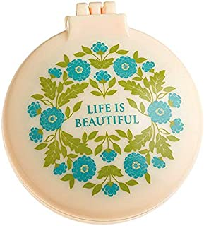 """LIFE IS BEAUTIFUL 2.5"""" Diameter Folding Hair Brush With Compact Mirror Pocket Size Gift Positive Vibe Message Travel Car G..."""