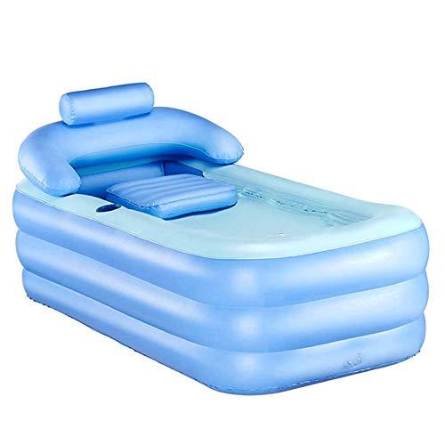 Tech-L Inflatable Bathtub Plastic Portable Foldable Bathtub Soaking Bathtub Home SPA Bathtub with Pedal, Blue