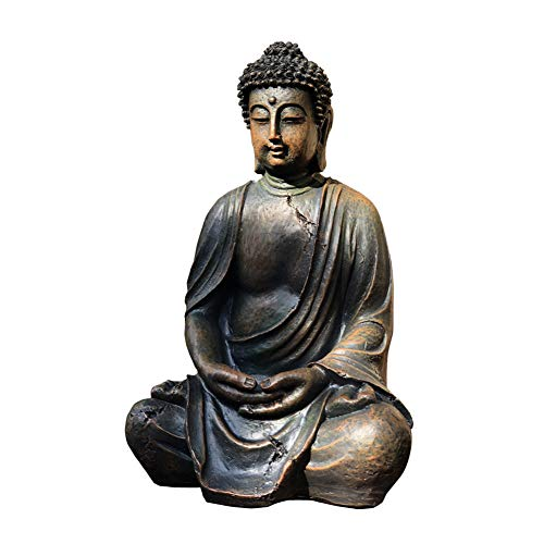 FF&XX Antiguo Buda Estatua,Jardín Vintage Estatua,Figura Escultura,Mini,Decoración del Paisaje Escultura,para Patio Cubierta Porche A 38x24x20cm(15x9x8inch)