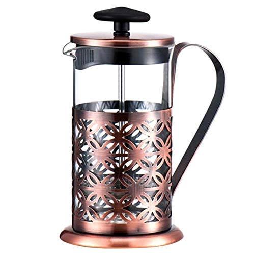 ANNING Edelstahl Vintage manuelle Kaffeekanne Glasfilterpresse Kolben 600 ml Teekanne Filterpresse Kaffeemaschine Tee Perkolator