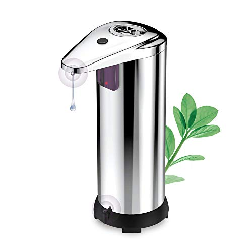 Bennra Automatic Soap Dispenser/ (2021 New) Touchless Adjustable Hand Sanitizer Dispenser for All Liquid, Upgraded Waterproof Base and 2 Smart Sensors,for Bathroom,Kitchen,Stainless Steel,Silver