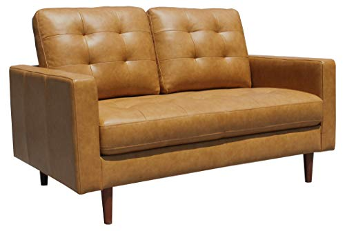 "Amazon Brand – Rivet Cove Mid-Century Modern Tufted Leather Loveseat Sofa, 56""W, Caramel"