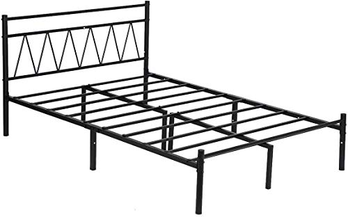 FTFTO Productos para el hogar Marco de Cama Cama Individual de 3 pies con Marco de Plataforma metálica Cama con cabecera en Forma de V Negro