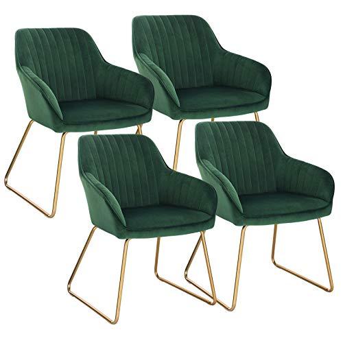 WOLTU Esszimmerstühle BH246dgn-4 4er Set Küchenstühle Wohnzimmerstuhl Polsterstuhl Design Stuhl mit Armlehne Gestell aus Metall Gold Beine Samt Dunkelgrün