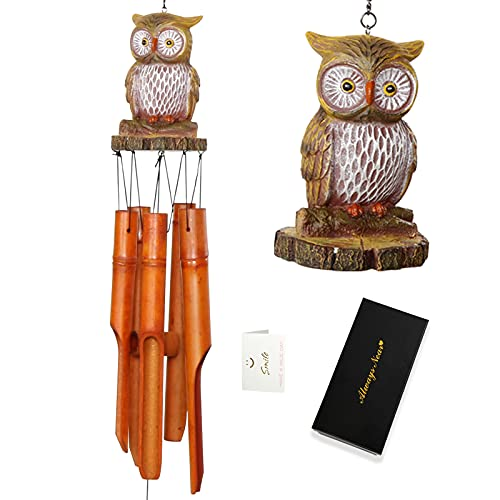Bamboo Owl Wind Chime