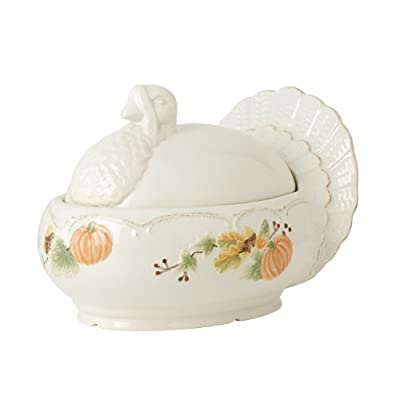 Pfaltzgraff Plymouth Covered Serving Dish, Holds 2.5 quarts, white, brown
