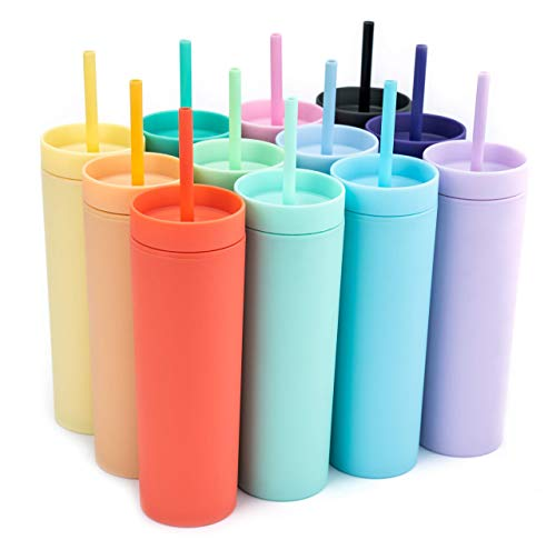 SKINNY TUMBLERS (12 pack) Matte Pastel Colored Acrylic Tumblers with Lids and Straws   Skinny, 16oz Double Wall Plastic Tumblers With FREE Straw Cleaner! Cup With Straw   Vinyl DIY Gifts