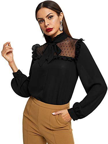 Floerns Women's Long Sleeve Bow Tie Mesh Chiffon Blouse Top Black M