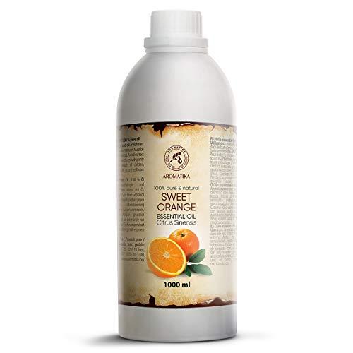 Huile Essentielle Orange 1000ml - Citrus Sinensis - Brésil - 100% Pur pour Bon Sommeil - Beauté - Bain - Soins du Corps - Bien-être - Cosmétiques - Relaxation - Massage - Spa - Aromathérapie