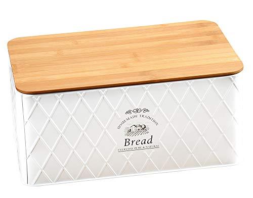 KESPER 1804563 Brotbox aus Weißblech und Bambus im Landhaus-Stil/Brotaufbewahrung/Country Collection