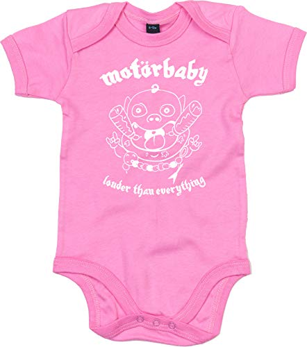 Racker-n-Roll MOTÖRBABY Louder Than Everything - Body para bebé, color rosa rosa 0-3 Meses