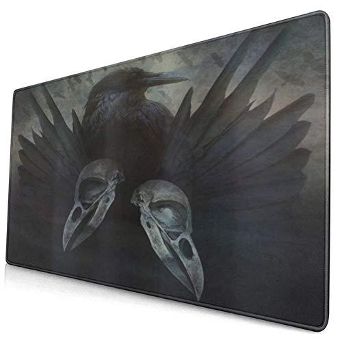 LASINSU Alfombrilla Gaming,Lámina artística Alas de espíritu de Cuervo gótico misticismo inquietante Oscuro Oculto Oscuro,con Base de Goma Antideslizante,750×400×3mm