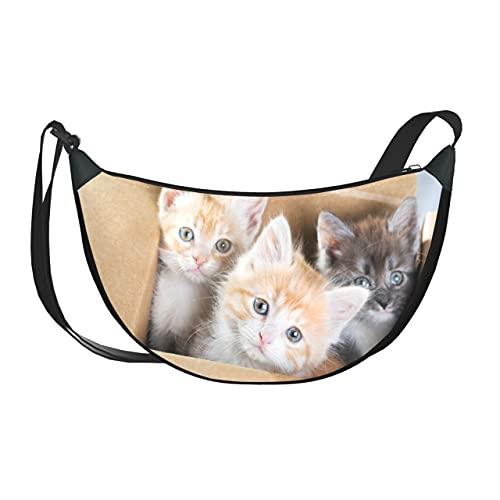 ALALAL Umhängetasche Frauen Nette Katze Im Karton Damen Tasche Sholder Taschen Mit Reißverschluss Für Frauen