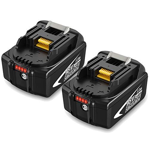 2 X BL1850B Topbatt 18V 5.0Ah Repuesto para Batería BL1815 BL1835 BL1845 LXT-400 BL1850 BL1850B BL1830 BL1840 Taladro inalámbrico