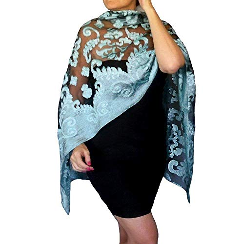 Plus Size Blue Wedding Shawl Organza Aqua Wrap Black Evening Wear By ZiiCi