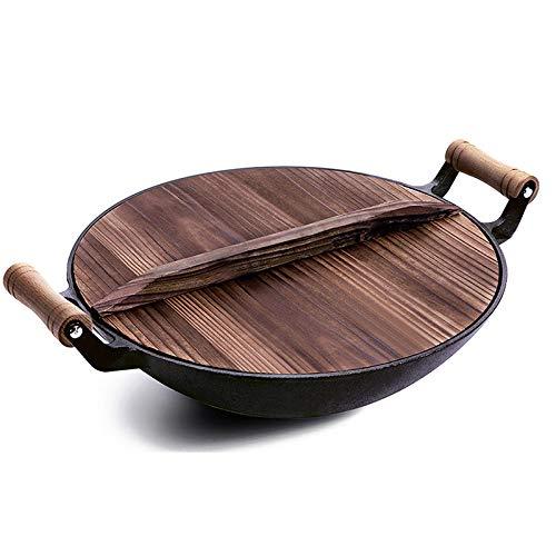 Gietijzeren wok oud ijzer wok handgemaakte wokpan met antiaanbaklaag restaurant wok wokpan 32 cm.