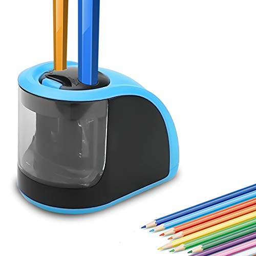Pencil Sharpener - Electric Pencil Sharpener with USB or Battery Operated - 2 Holes(6-8mm & 9-12mm)- Perfect Gift for Kids,Student, Artist, Professionals (Batteries not Included)(Blue)