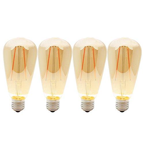 4X E27 LED Lamparas Bombillas 2W Filamento Edison ST64 Vintage Retro Antigua Luz Calida 2200K Equivalente 20W Incandescentes, AC220V