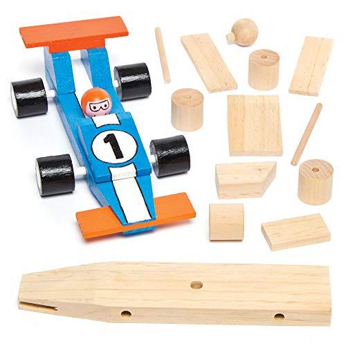 Baker Ross AG769 Rennwagen-Bastelsets aus Holz für Kinder zum Basteln und Dekorieren als Geschenk zum Vatertag (2 Stück), Holzfarben, 17,5 cm, 2 Pack