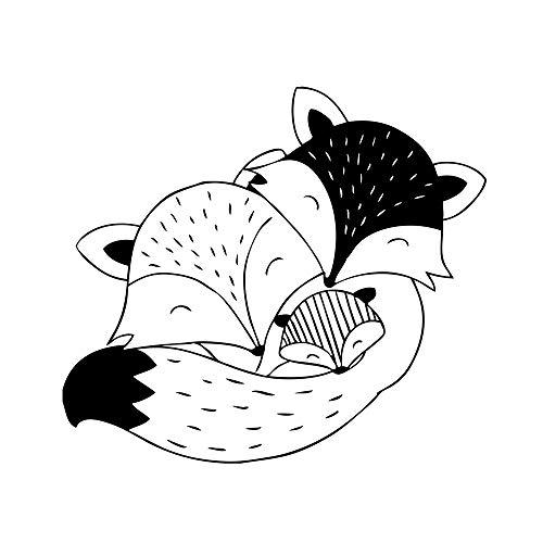 Aladine - Tampon Naissance - Support En bois - Réalisation de Faire Part de Naissance - Scrapbooking et Carterie Créative - Motif Famille Renard