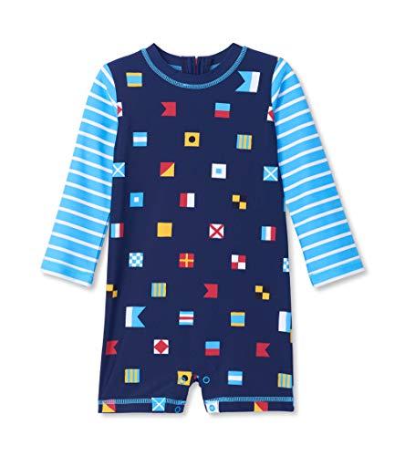 Hatley One Piece Rash Guard Swimsuits Traje de baño de una Pieza, Azul (Banderas náuticas 400), 6 Mes para Bebés
