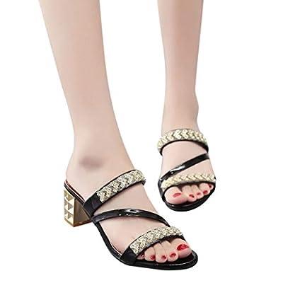 Women's Fashion Sandals,Zyqzw Summer Crystal Square Heel Beach Sandals Roman Shoes Slippers Flip-Flop