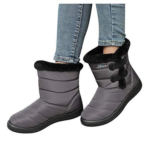 Luckycat Botas Nieve Mujer Botas Montaña Mujer Zapatos Mujer Botas de Tobillo Calientes de Color sólido de Invierno para Mujer, más Botas de Nieve Planas de Terciopelo