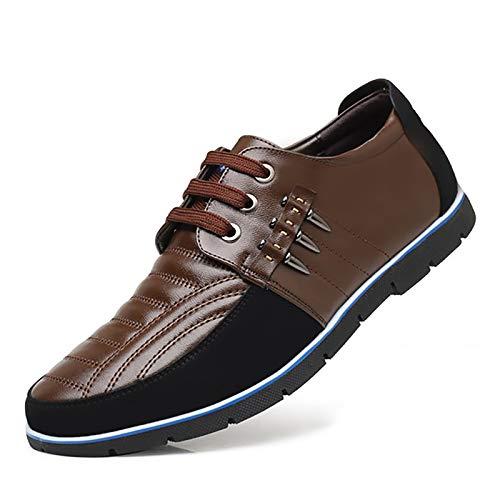 COSIDRAM Zapatillas de deporte para hombre, transpirables, cómodas, de piel de lujo, para trabajo, oficina, exterior, color Marrón, talla 43 EU