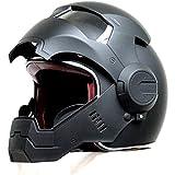 LCRAKON Caschi da Moto, Caschi da Motocross Integrali da Turismo Moto Harley Casco Vintage Caschi Ribaltabili Casco da Corsa con Guanti da Moto Casco Motore Iron Man - personalità - Cool, Nero Opaco