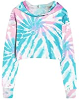Women's Tie dye Print Long Sleeve Crop Top Casual Gradient Sweatshirt Hoodies