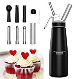 Whipped Cream Dispensers - Stainless Steel Cream Whipper Dispense for 500ml Whipped Cream Chargers with 3 Stainless and 3 PP Decorating Nozzles,1 Cleaning Brush (Black)
